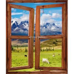 Sticker fenêtre trompe l'oeil déco Prairie Vache