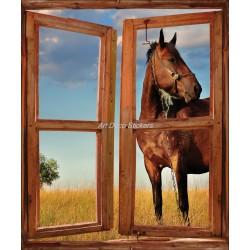 Sticker fenêtre trompe l'oeil déco Cheval