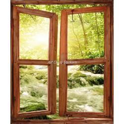 Sticker fenêtre trompe l'oeil Rivière 741