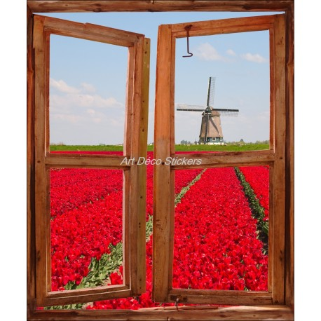 Sticker mural Fenêtre trompe l'oeil déco Tulipe