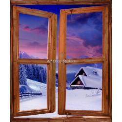 Sticker mural Fenêtre trompe l'oeil déco Montagne