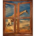 Sticker mural Fenêtre trompe l'oeil déco Girafe