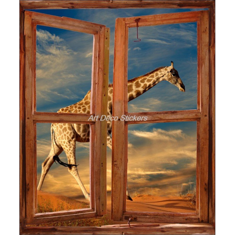 sticker mural fen tre trompe l 39 oeil d co girafe art d co stickers. Black Bedroom Furniture Sets. Home Design Ideas