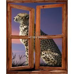 Sticker mural Fenêtre trompe l'oeil déco Léopard