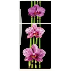 Sticker frigo électroménager déco Fleurs Bambous 70x170cm