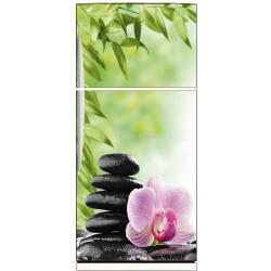 Sticker frigo électroménager déco Galet fleur 70x170cm