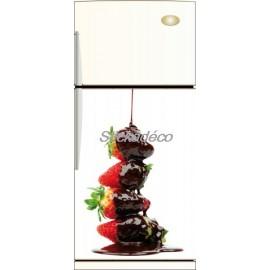 Sticker frigidaire Fraise Chocolat Noir