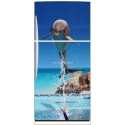 Sticker frigo électroménager déco Dauphin 70x170cm