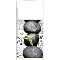 Sticker frigo déco cuisine Galet feuille - ou Magnet frigo