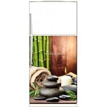 Sticker frigo déco cuisine Bambous Galets - ou Magnet frigo