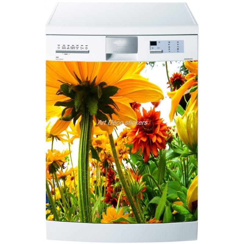 sticker lave vaisselle ou magnet lave vaisselle fleurs. Black Bedroom Furniture Sets. Home Design Ideas