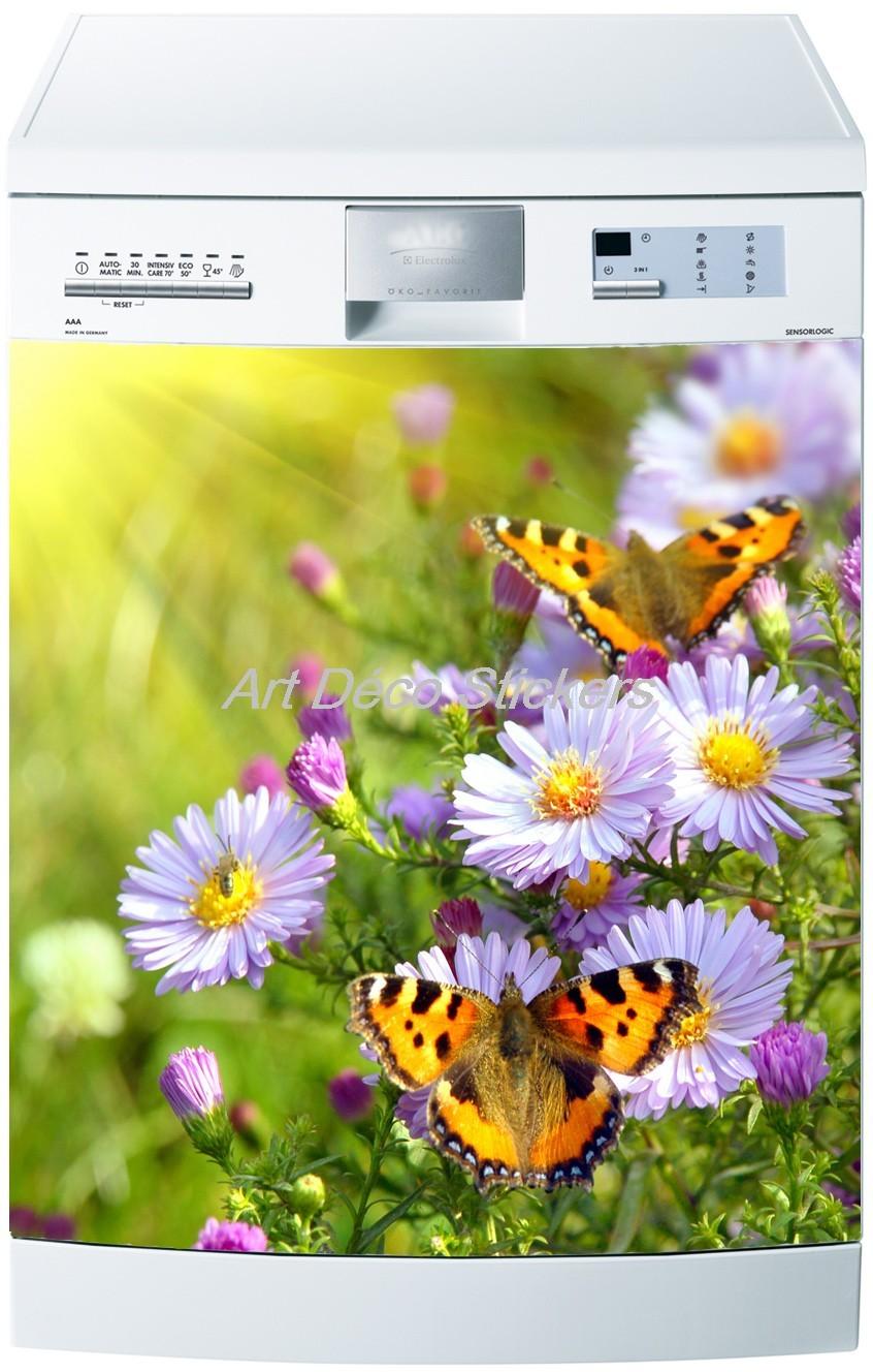 60x60cm Art d/éco Stickers Sticker Lave Vaisselle ou Magnet Lave Vaisselle Papillons
