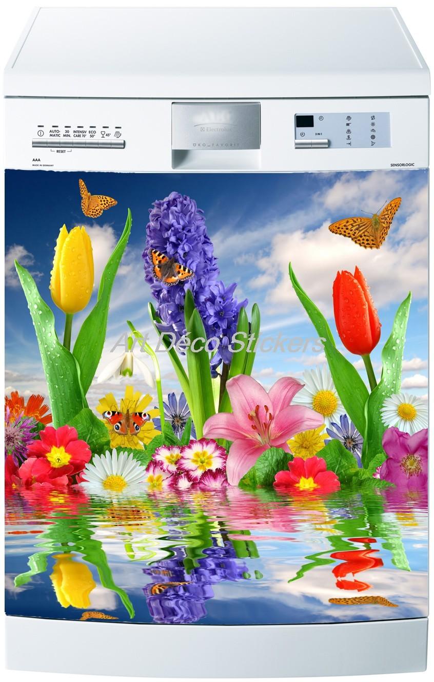 Art d/éco Stickers Sticker Lave Vaisselle Fleurs 60x60cm