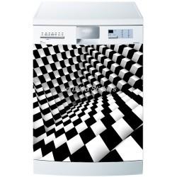 Sticker lave vaisselle ou magnet lave vaisselle Damier
