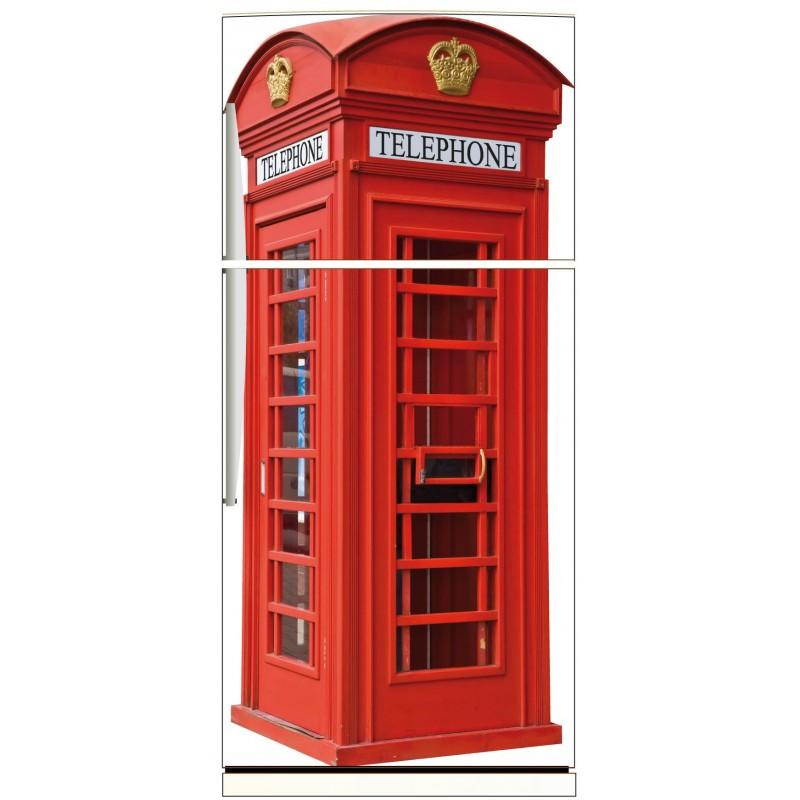 Sticker frigo électroménager déco cabine téléphonique anglaise 70x170cm réf 579