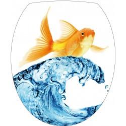 Sticker WC, sticker pour abattant de WC Poisson vague