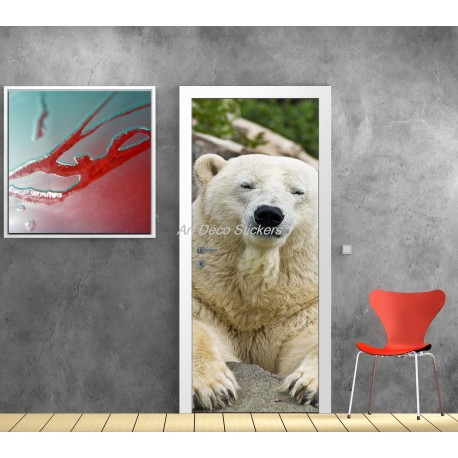 Sticker de porte trompe l'oeil déco Ours Blanc