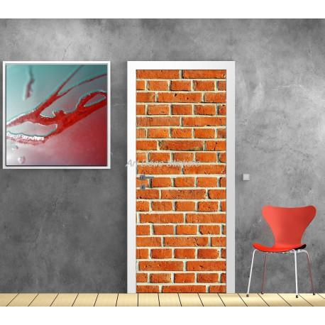 Sticker de porte trompe l'oeil déco Briques