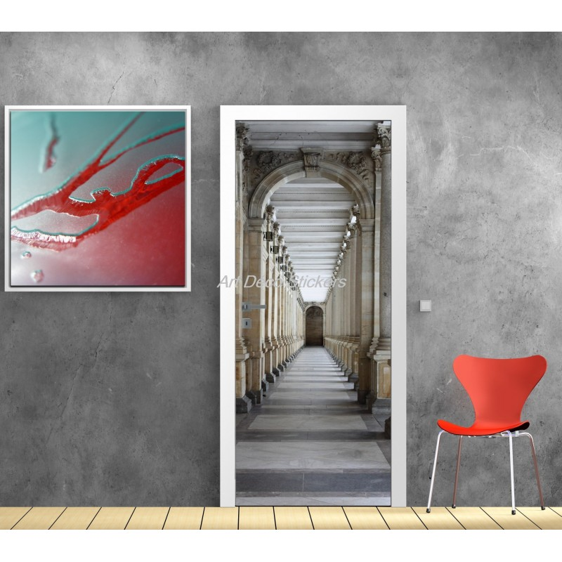 Sticker de porte trompe l 39 oeil d co couloir art d co for Stickers muraux pour couloir
