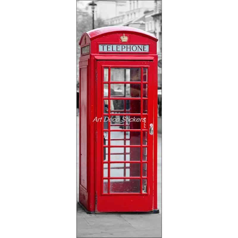 Stickers de porte trompe l 39 oeil cabine t l phonique for Cabine telephonique anglaise deco