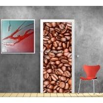 Sticker de porte trompe l'oeil déco Café