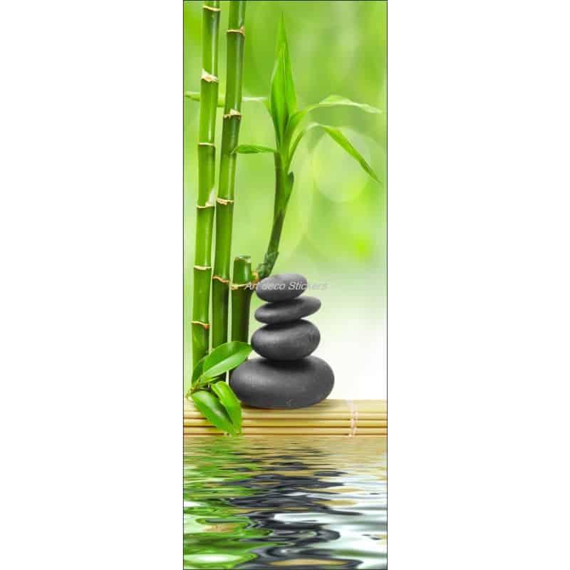 sticker de porte trompe l 39 oeil d co bambous galets art. Black Bedroom Furniture Sets. Home Design Ideas