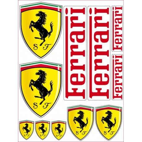 1 Planche de 11 Stickers- Autocollants Ferrari