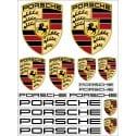 1 Planche de 16 Stickers- Autocollants Porsche
