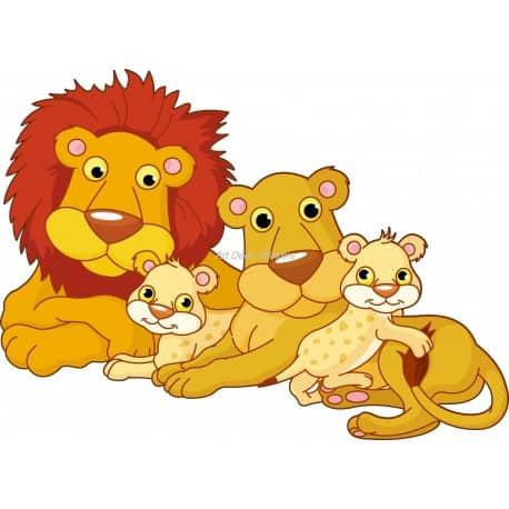 Sticker enfant Famille Lion