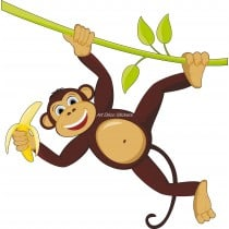 Sticker enfant Singe liane