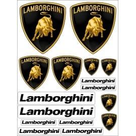 1 Planche de 16 Stickers- Autocollants Lamborghini