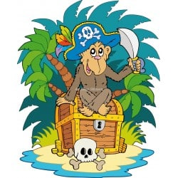 Sticker enfant Singe pirate