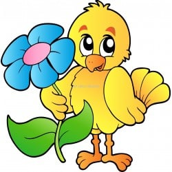 Sticker enfant Oiseau fleur