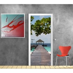 Sticker de porte trompe l'oeil déco Maldives