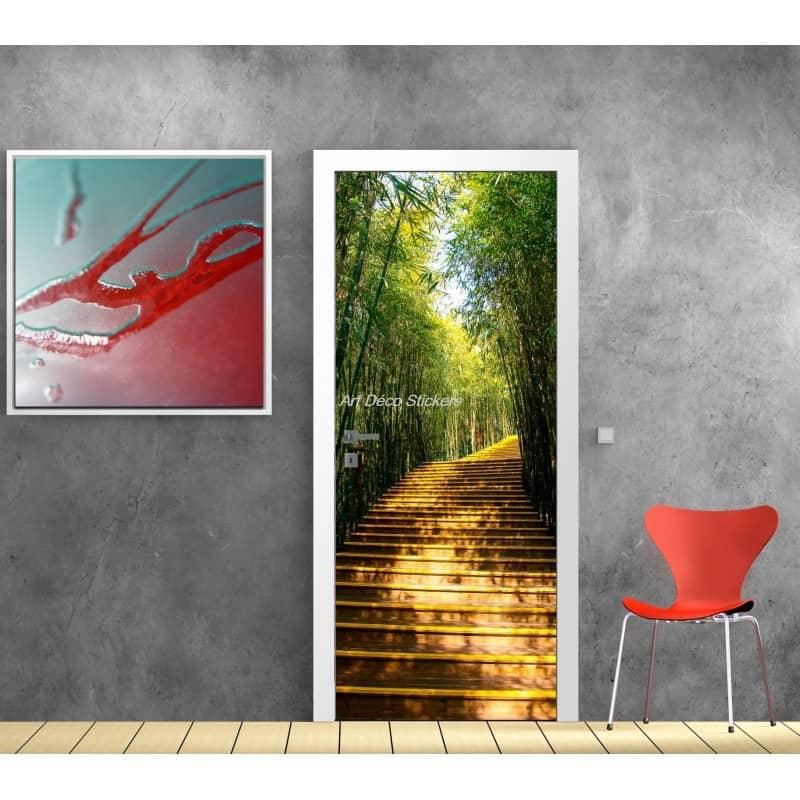 sticker porte sticker porte trompe l 39 oeil sticker d co porte bambous. Black Bedroom Furniture Sets. Home Design Ideas