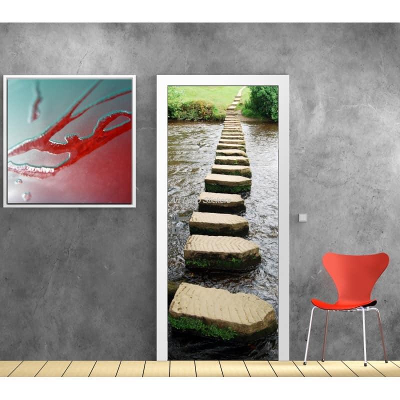 sticker porte sticker porte trompe l 39 oeil sticker d co porte rivi re. Black Bedroom Furniture Sets. Home Design Ideas