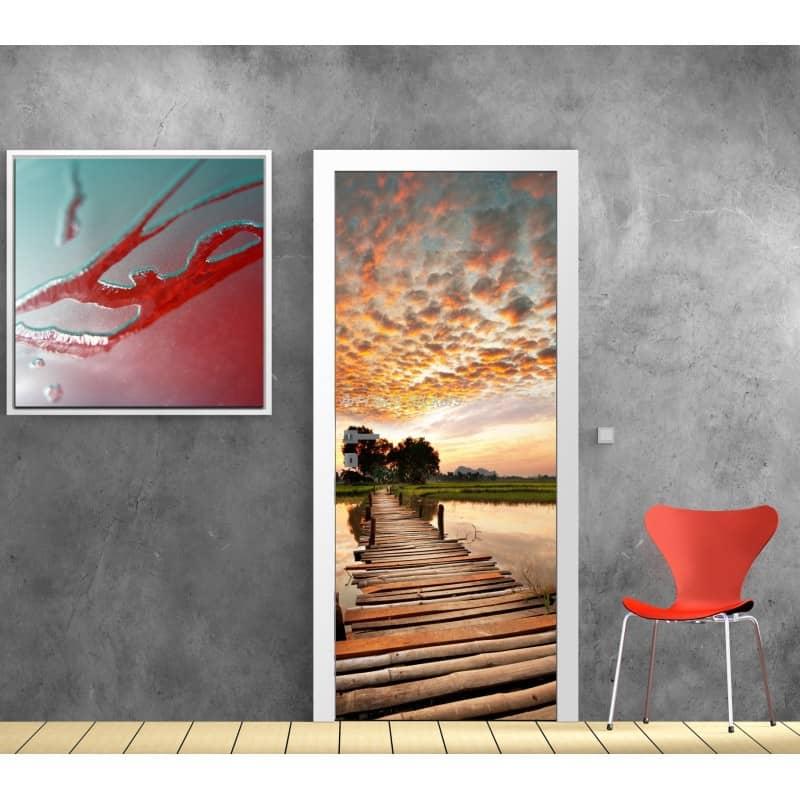 sticker porte sticker porte trompe l 39 oeil sticker d co. Black Bedroom Furniture Sets. Home Design Ideas