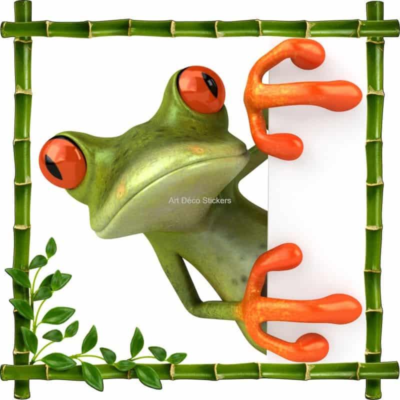 Sticker mural trompe l 39 oeil d co grenouille art d co - Deco trompe l oeil mural ...
