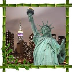 Sticker mural trompe l'oeil déco Bambous Statue de la liberté