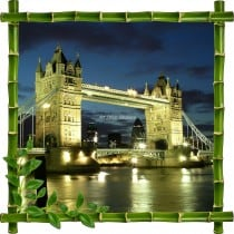Sticker mural trompe l'oeil déco Bambous Londres