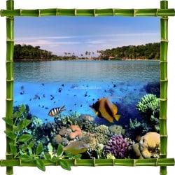 Sticker mural trompe l'oeil déco bambous Aquarium