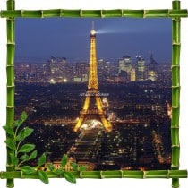 Sticker mural trompe l'oeil déco bambous Tour Eiffel