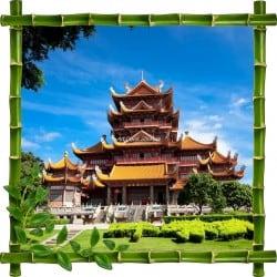 Sticker mural trompe l'oeil déco bambous Temple