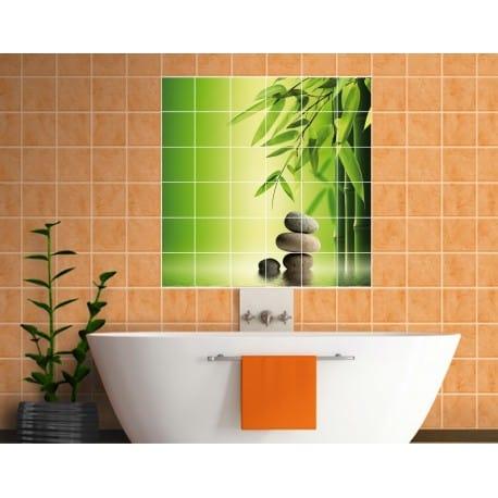 Sticker carrelage mural Bambous Galets - Art Déco Stickers