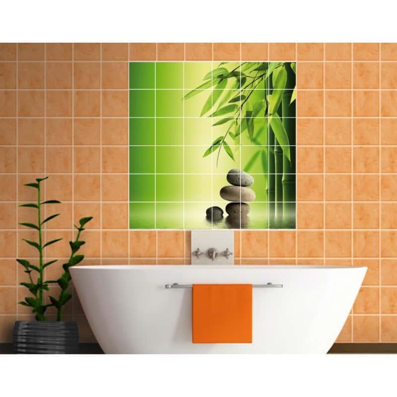 Sticker Carrelage Mural Bambous Galets Art D Co Stickers