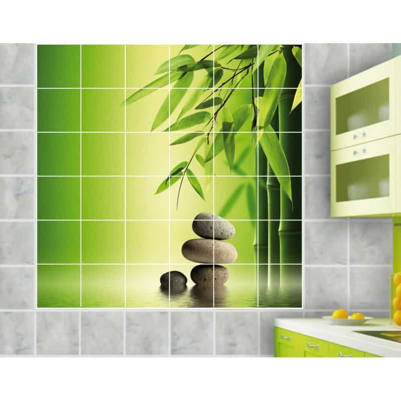 Sticker carrelage mural bambous galets art d co stickers for Salle de bain zen bambou