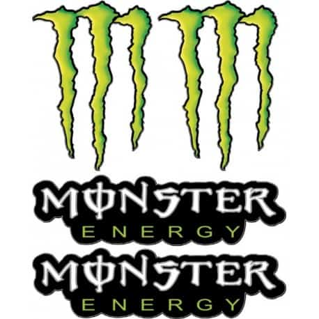 4 Stickers- Autocollants Monster Energy Géant