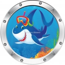 Sticker hublot enfant trompe l'oeil Requin