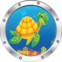 Sticker hublot enfant trompe l'oeil Tortue
