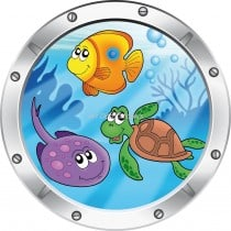 Sticker hublot enfant trompe l'oeil Vue sous marine